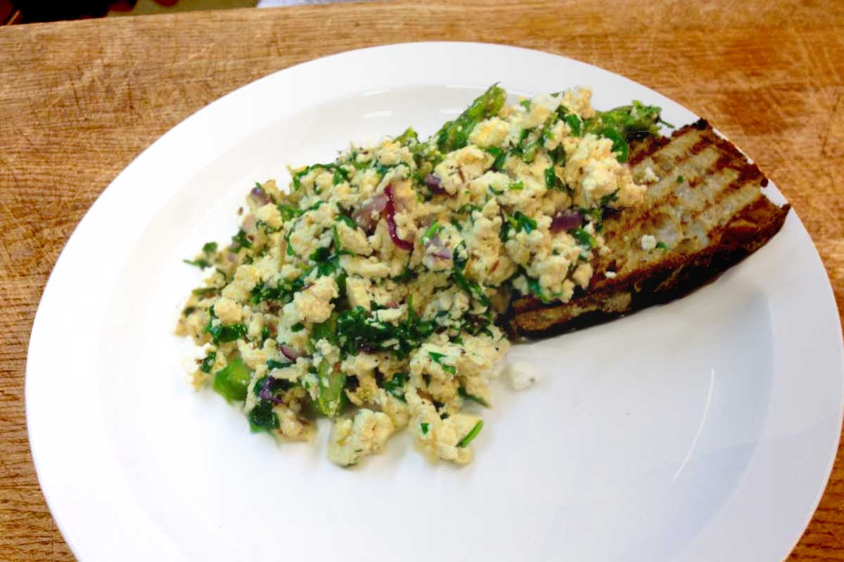 Tofu Scramble with Asparagus and Watercress - recipe