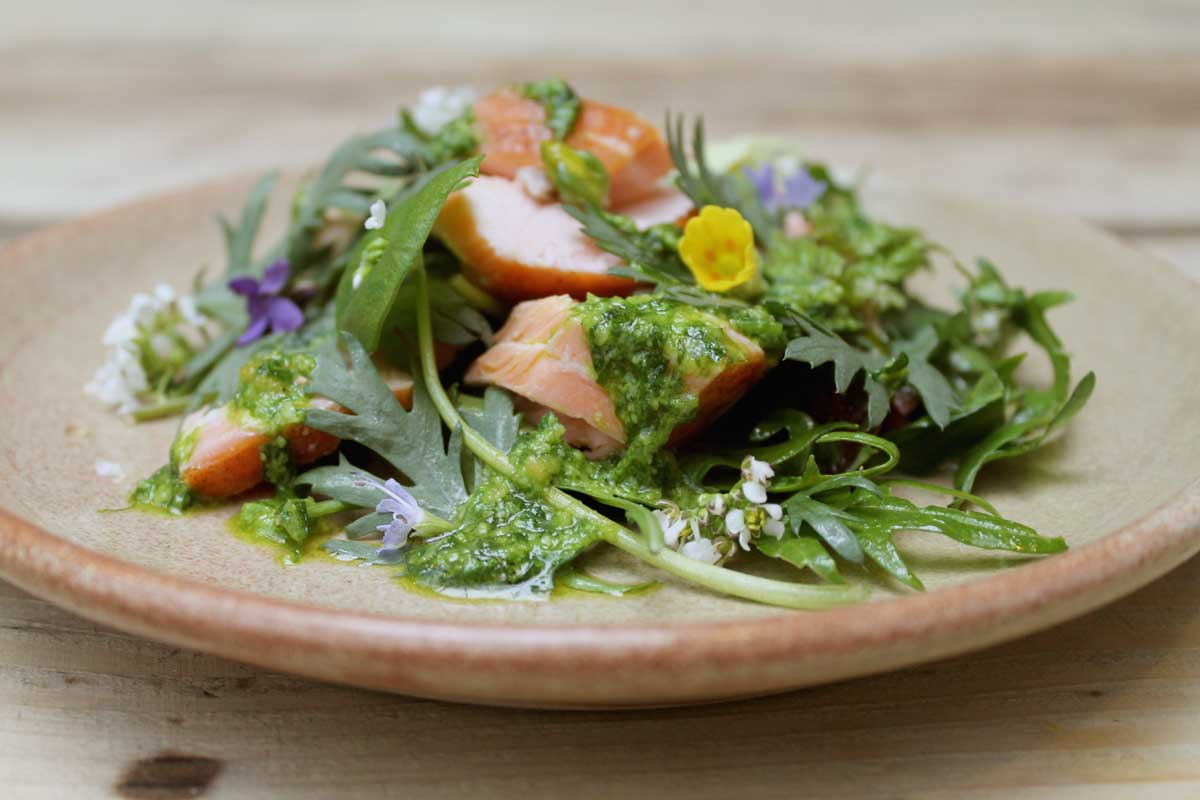 Herb Salad Hot Smoked Salmon Garlic Dressing Recipe