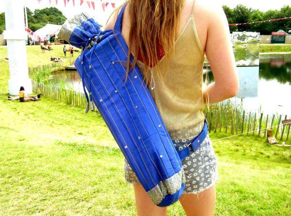 Cork Yogis Recycled Saree Yoga Mat Bag Blue