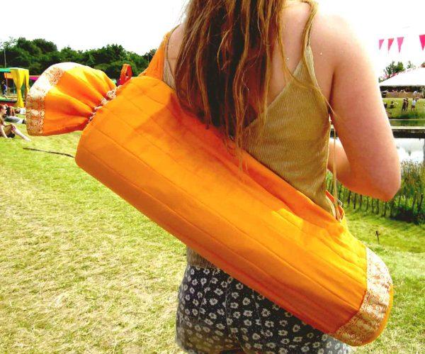 Cork Yogis Recycled Saree Yoga Mat Bag Orange