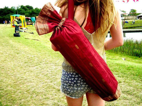Cork Yogis Recycled Saree Yoga Mat Bag red