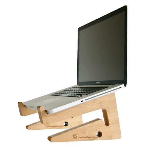 Ergonomic Bamboo Wooden Laptop Stand