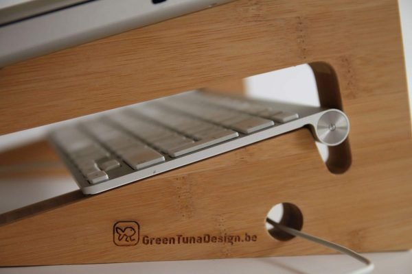 Ergonomic Bamboo Wooden Laptop Stand - Cable Hole