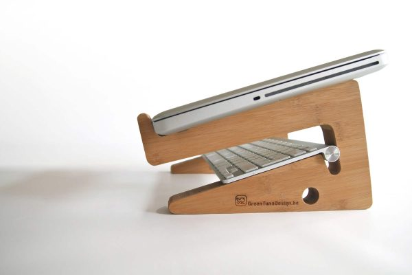 Ergonomic Bamboo Wooden Laptop Stand - Caramel Tidy