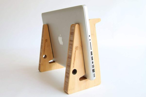 Ergonomic Bamboo Wooden Laptop Stand - Natural Close