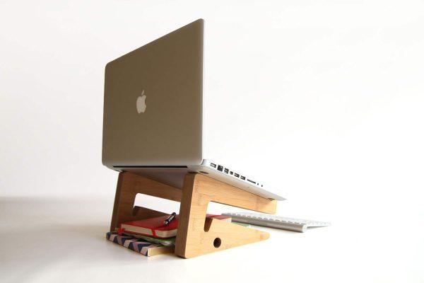 Ergonomic Bamboo Wooden Laptop Stand - Natural Reverse