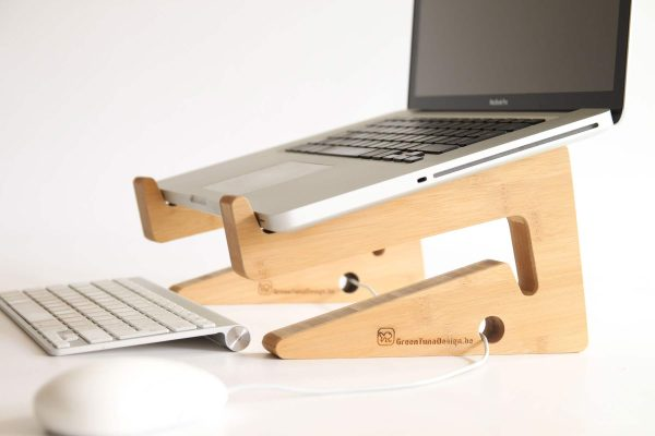 Ergonomic Bamboo Wooden Laptop Stand - Natural in Use