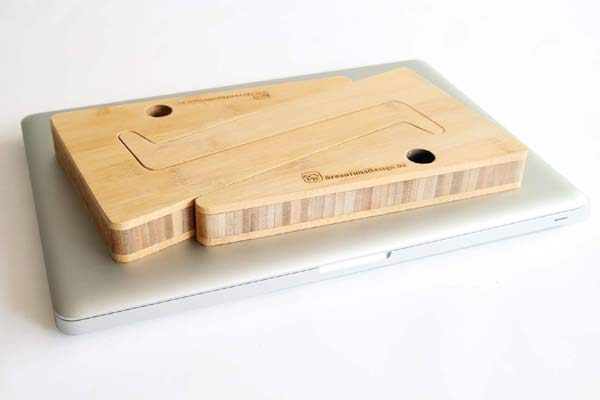 Ergonomic Bamboo Wooden Laptop Stand - Portable