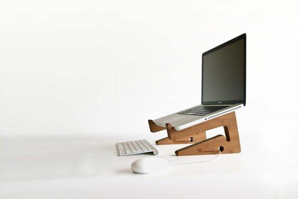 Ergonomic Bamboo Wooden Laptop Stand - caramel