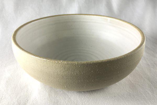 Large White Spiral Bowl Half Glazed - Artisan Ceramics - Ned Davies Ceramics