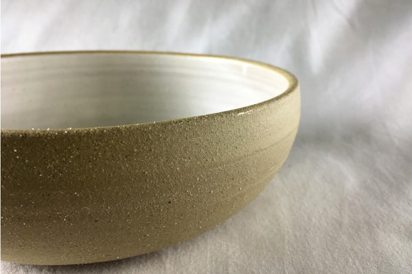 Large White Spiral Bowl Half Glazed - Handmade - Ned Davies Ceramics