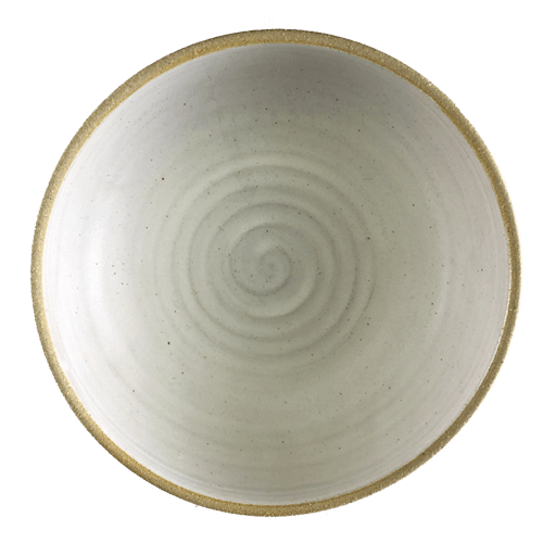 Large White Spiral Bowl Half Glazed - Ned Davies Ceramics