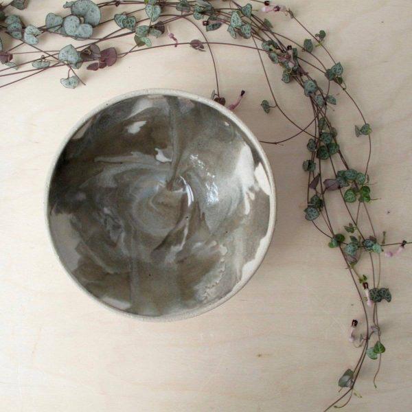 Marbled Bowl - Wheel Thrown - dessert bowl - Bisila Noha Ceramics
