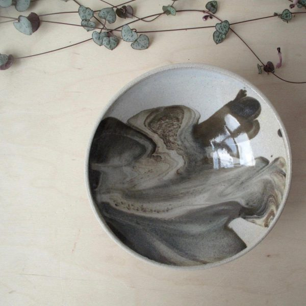 Marbled Bowl - Wheel Thrown - lunch - Bisila Noha Ceramics