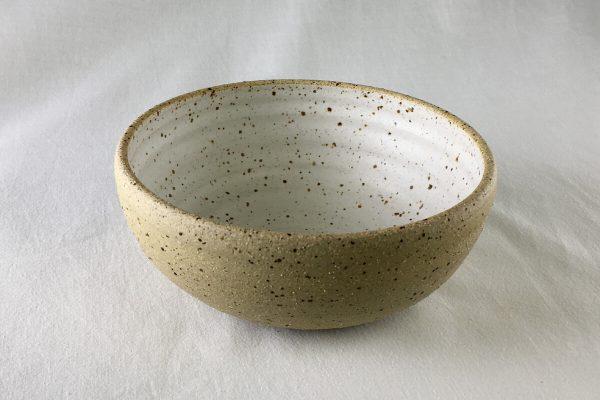 Medium White Speck Bowl Half Glazed - Artisan Ceramics- Ned Davies Ceramics