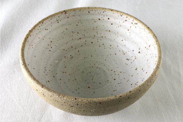 Medium White Speck Bowl Half Glazed - Handmade - Ned Davies Ceramics