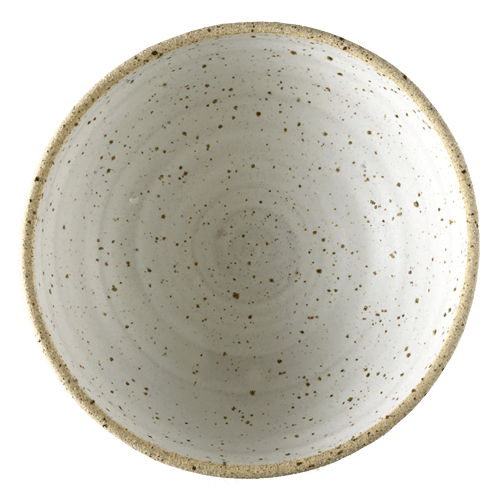 Medium White Speck Bowl Half Glazed Ned Davies Ceramics
