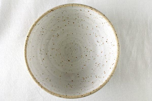 Medium White Speck Bowl Half Glazed - made in London - Ned Davies Ceramics