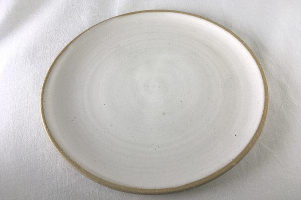 Spiral White Dinner Plate - handmade - Ned Davies Ceramics