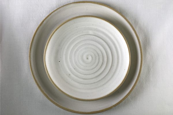 Spiral White Dinner Plate - handmade plates - Ned Davies Ceramics