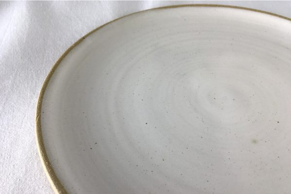 Spiral White Dinner Plate - london made - Ned Davies Ceramics