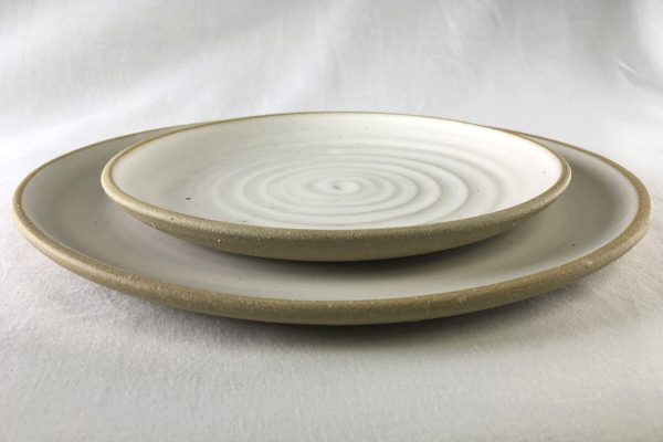 Spiral White Dinner Plate - made in london - Ned Davies Ceramics