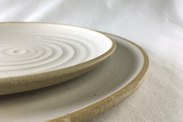 Spiral White Dinner Plate - side and dinner plates - Ned Davies Ceramics