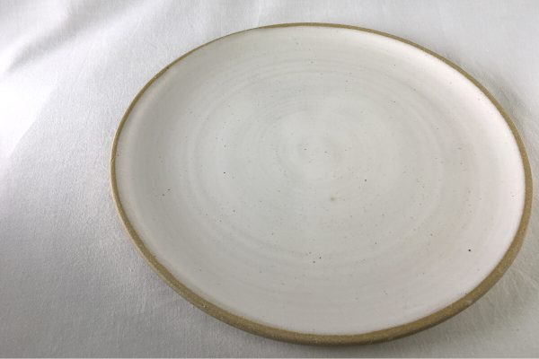 Spiral White Dinner Plate - wheel thrown - Ned Davies Ceramics