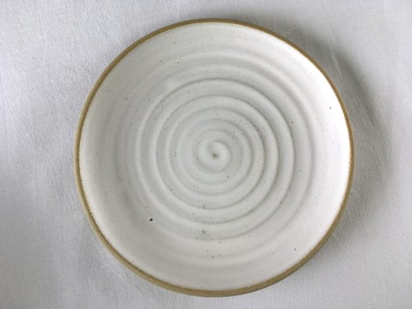 Spiral White Side Plate - Wheel thrown - Ned Davies Ceramics