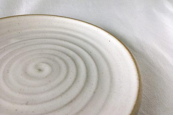 Spiral White Side Plate - handmade - Ned Davies Ceramics