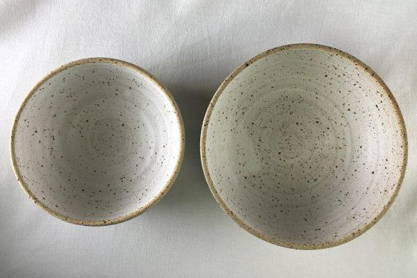 White Speck Bowls Half Glazed - Handmade - Ned Davies Ceramics