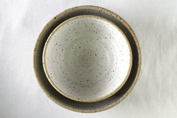 White Speck Bowls Half Glazed - Medium Large Bowl - Ned Davies Ceramics