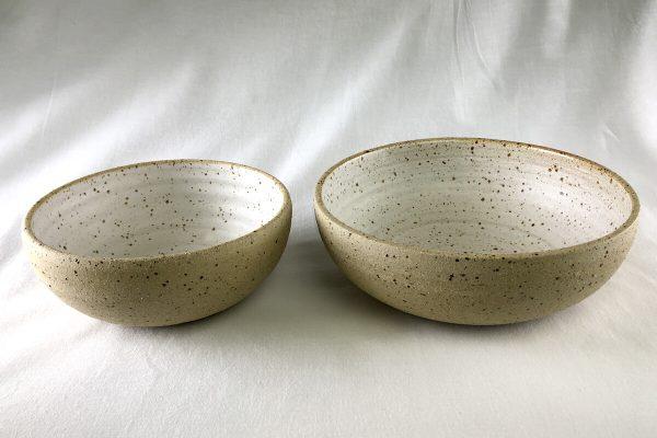 White Speck Bowls Half Glazed - Ned Davies Ceramics