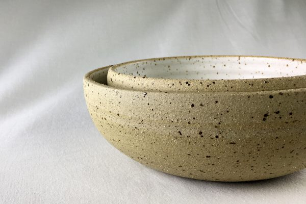 White Speck Bowls Half Glazed - Wheel Thrown - Ned Davies Ceramics