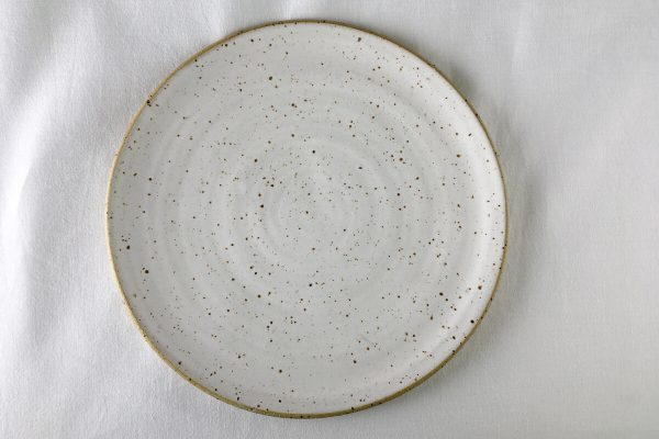 White Speck Dinner Plate - made in London - Ned Davies Ceramics