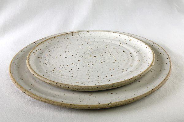 White Speck Plates - handamde - Ned Davies Ceramics