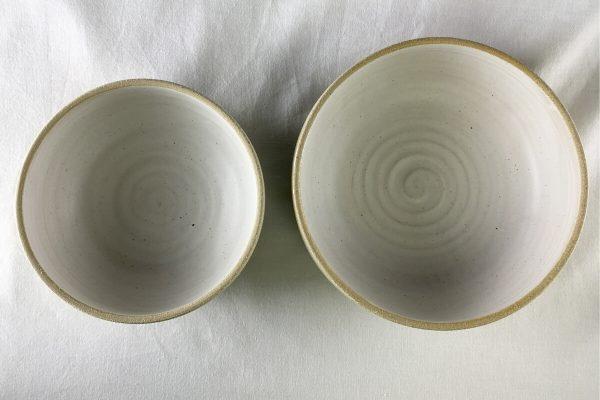 White Spiral Bowls Half Glazed - Ned Davies Ceramics