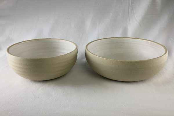 White Spiral Bowls Half Glazed - Wheel Thrown - Ned Davies Ceramics