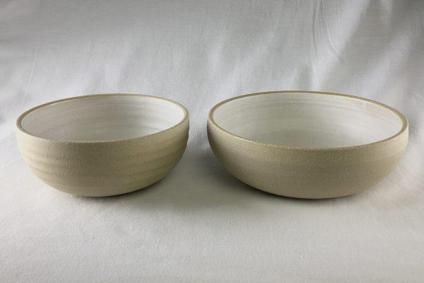 White Spiral Bowls Half Glazed - Wheel Thrown - Ned Davies Ceramics