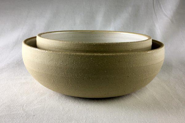 White Spiral Bowls Half Glazed - handmade - Ned Davies Ceramics