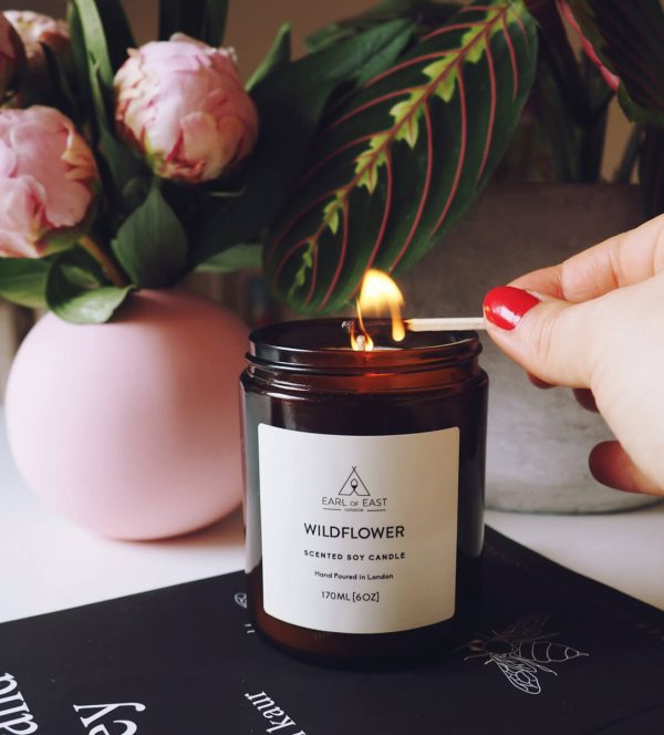 Wildflower Scented Candle - lit - Earl of East London