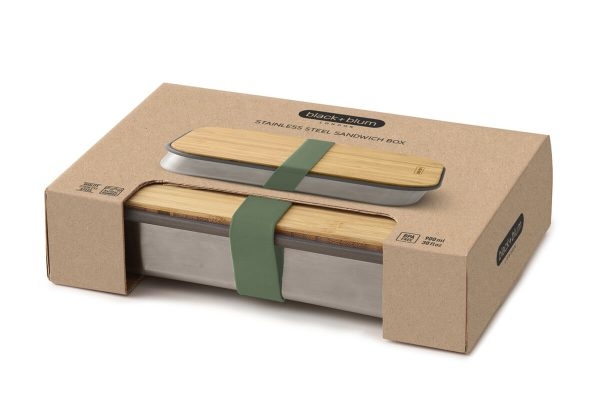 Black+Blum Wood Stainless Steel Sandwich Box - Olive Boxed