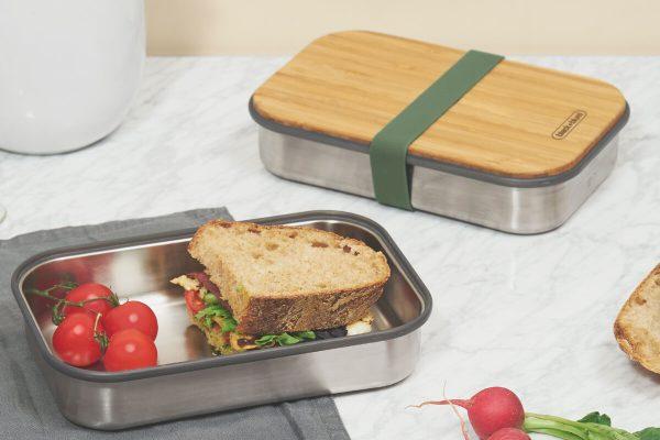 Black+Blum Wood Stainless Steel Sandwich Box - Olive Sandwich