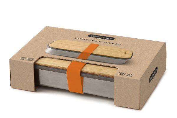 Black+Blum Wood Stainless Steel Sandwich Box - Orange Boxed