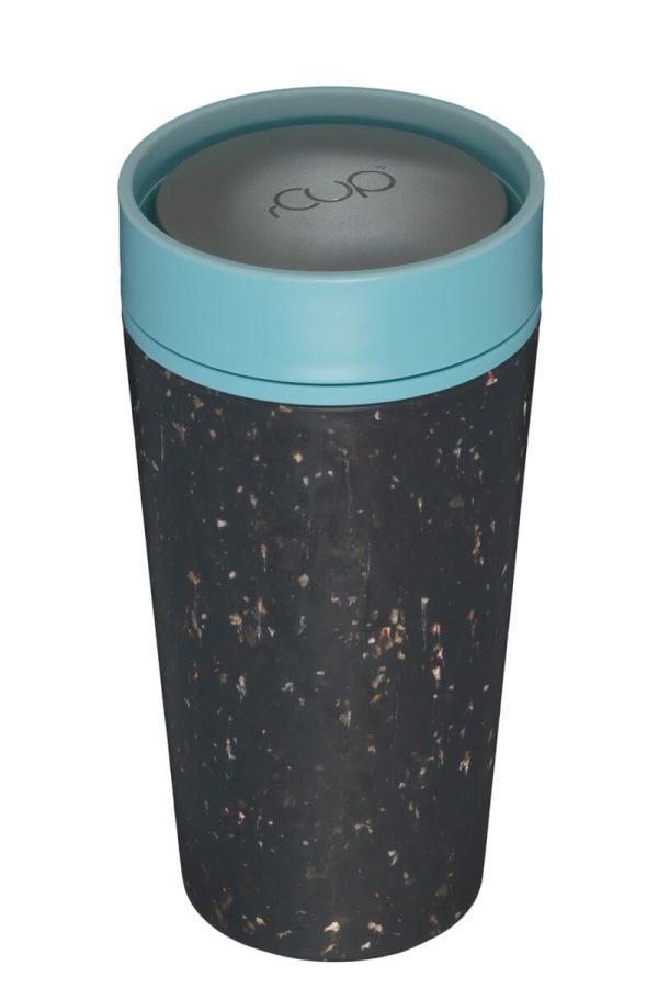 rCup Recycled Coffee Cup Keep Cup 12oz - Black Teal Lid