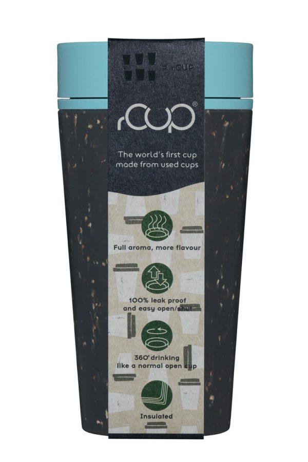 rCup Recycled Coffee Cup Keep Cup 12oz - Black Teal Packaging
