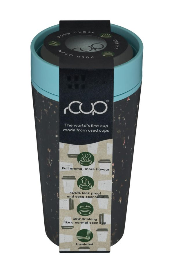 rCup Recycled Coffee Cup Keep Cup 12oz - Black Teal Packaging Lid