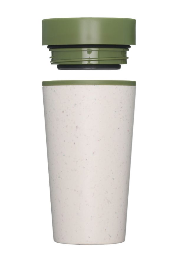 rCup Recycled Coffee Cup Keep Cup 12oz - Cream Green Lid Closed