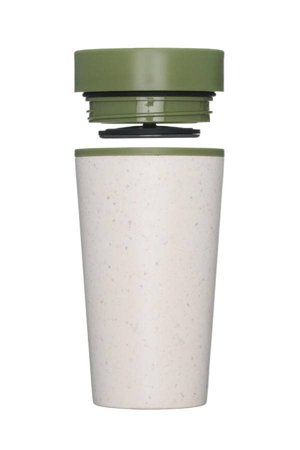 rCup Recycled Coffee Cup Keep Cup 12oz - Cream Green Lid Open
