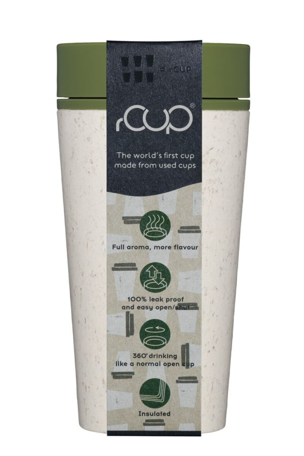 rCup Recycled Coffee Cup Keep Cup 12oz - Cream Green Packaging